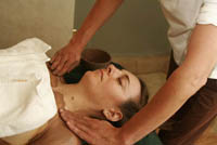 Julie gets slathered with Sedona mud and cocoa at the Nidah Spa in Santa Fe, NM.
